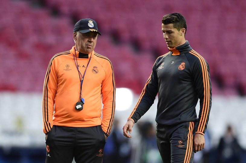 Carlo Ancelotti i Cristiano Ronaldo na treningu w Lizbonie /AFP