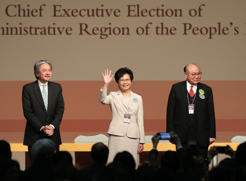 Carrie Lam świętuje zwycięstwo /PAP/EPA