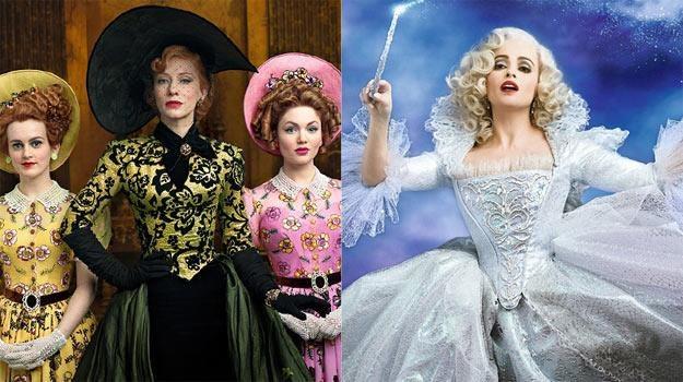 "Cate Blanchett (L) i Helena Bonham Carter (P) na plakatach reklamujących ""Kopciuszka"" /materiały dystrybutora"