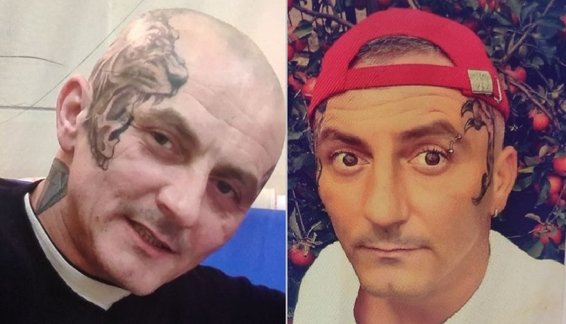 Cecha charakterystyczna to rozległe tatuaże widoczne na głowie, twarzy i szyi poszukiwanego /Łódzka policja /