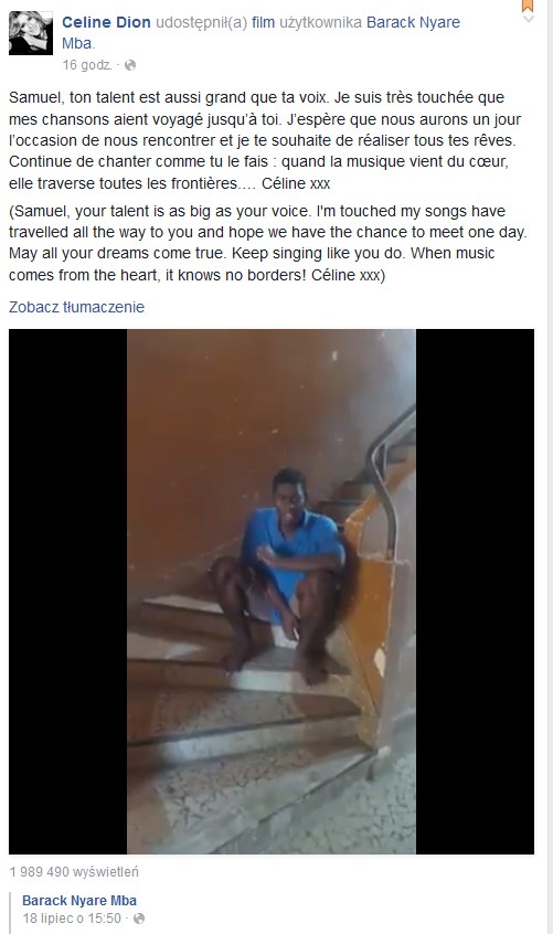 Celine Dion na Facebooku /