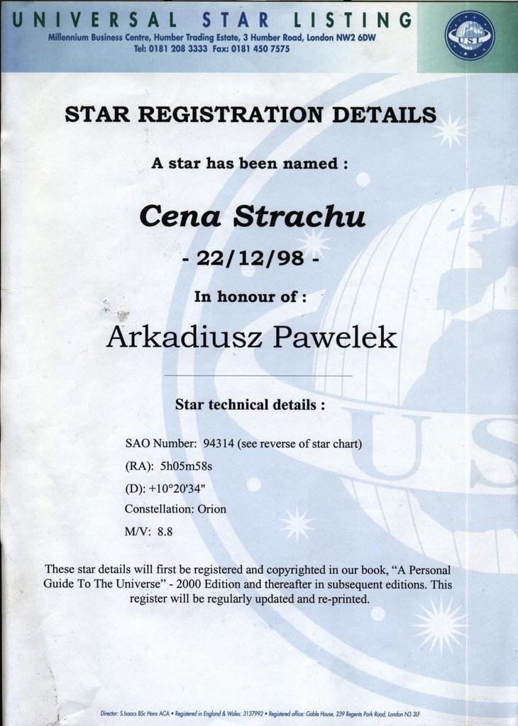 Certyfikat nadania gwieździe imienia Cena Strachu /Archiwum prywatne /