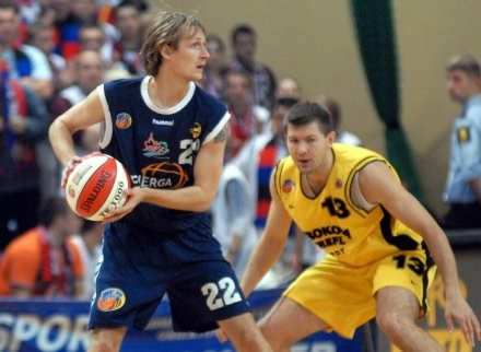 Cesnauskis (z lewej, Czarni) i Slanina (Prokom),FOT.Mariusz Kraczaniec /Agencja Przegląd Sportowy