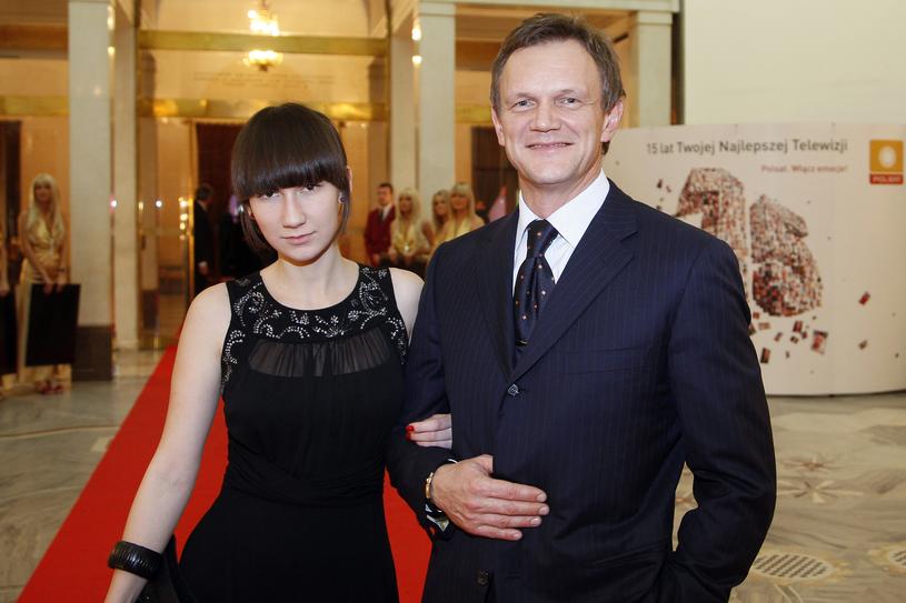 Cezary Pazura z najstarszą córką, Anastazją. Rok 2007 /Jacek Grąbczewski /AKPA