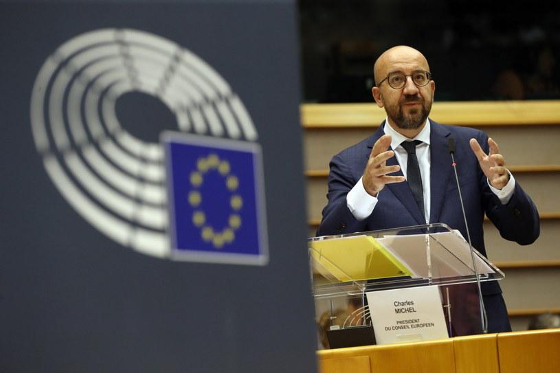 Charles Michel w czasie debaty w PE /European Parliament  /PAP/EPA