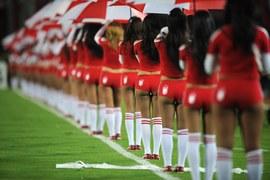 Cheerleaderki na stadionie w kolumbijskiej Bogocie