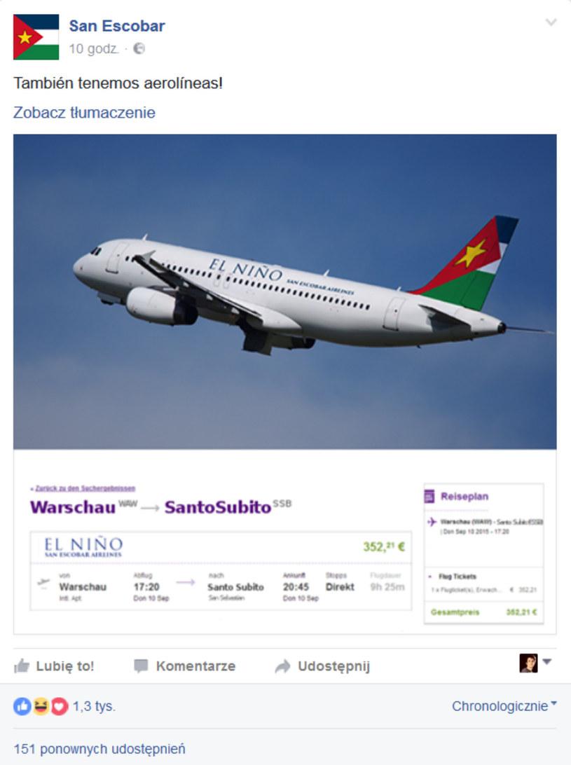 Chętni na wakacje w San Escobar? Są bezpośrednie loty z Warszawy! /San Escobar Facebook /materiały prasowe