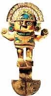 Chimú: rytualny nóż tumbaga, ozdobiony drogimi kamieniami /Encyklopedia Internautica