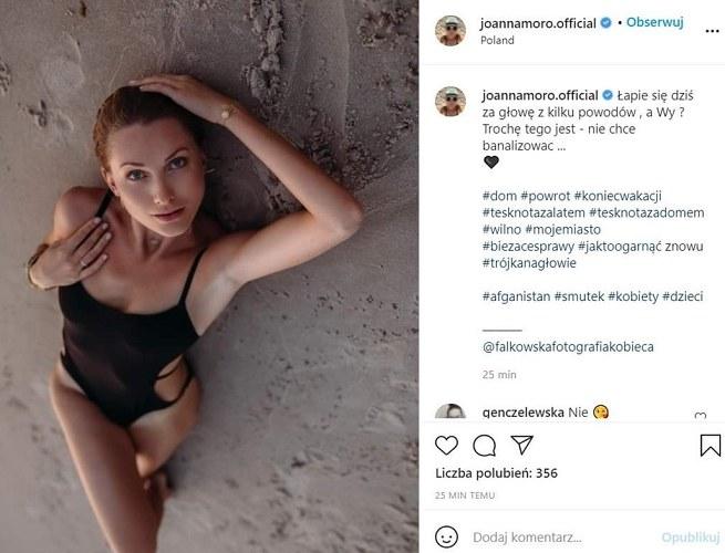Chociaż Joanna Moro usunęła  kontrowersyjny wpis, po sieci wciąż krąży zdjęcie ekranu ukazujące treść posta /Instagram