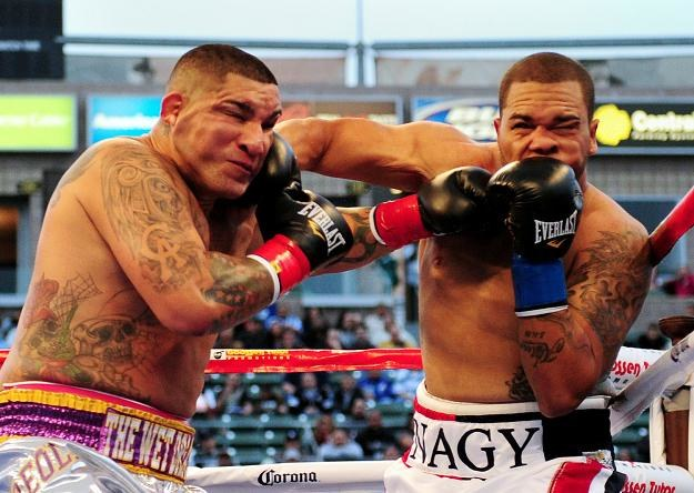 Chris Arreola (z lewej) może stoczyć kolejną walkę w końcu października /AFP