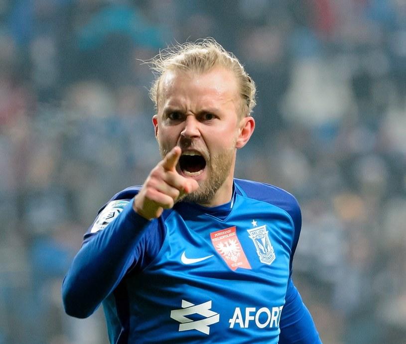 Christian Gytkjaer zdobył trzy bramki w meczu Lecha z Termalicą /Jakub Kaczmarczyk /PAP