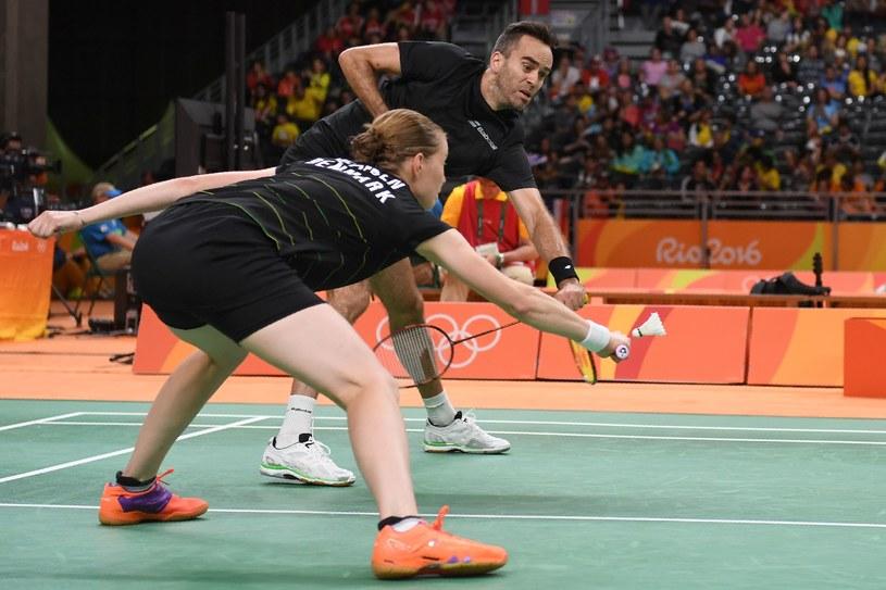 Christinna Pedersen i Joachim Fischer Nielsen podczas meczu z Polakami /AFP