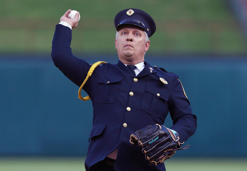 Christopher Suprun jako honorowy gość meczu baseballu /AFP