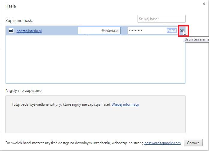 chrome usuwanie hasla /INTERIA.PL