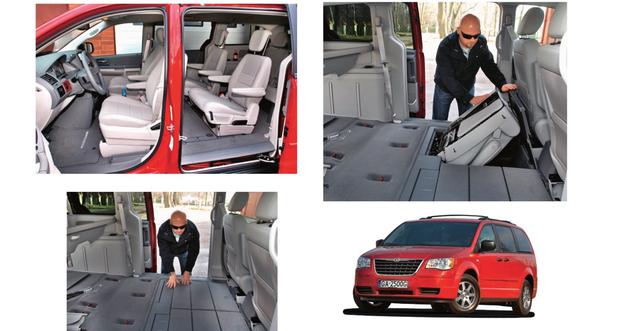 Chrysler Voyager i Toyota Sienna to vany z konfiguracją foteli 2+2+3. Drugi i trzeci rząd chowa się w podłodze. /Motor