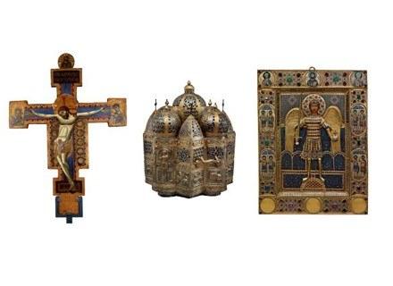 Chrystus ukrzyżowany; kadzielnica w kształcie kościoła, X-XI w, Archanioł Michał /Sztuka.pl