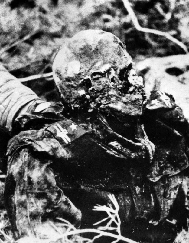 Ciało polskiego oficera, w mundurze majora, wydobyte podczas niemieckich ekshumacji w Katyniu na wiosnę 1943 r. /Laski Diffusion /East News