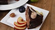 Ciasto brzoskwiniowe z sosem czekoladowym