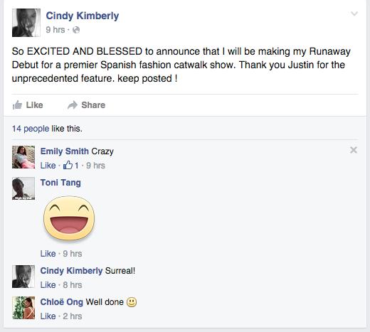 Cindy Kimberly na Facebooku /