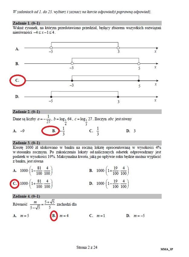 próbna matura z matematyki cke