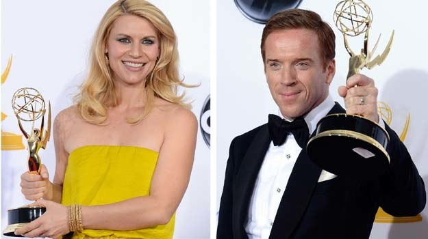 "Claire Danes i Damien Lewis  - gwiazdy ""Homeland"" ze statuetkami Emmy - fot. Kevork Djansezian /Getty Images/Flash Press Media"