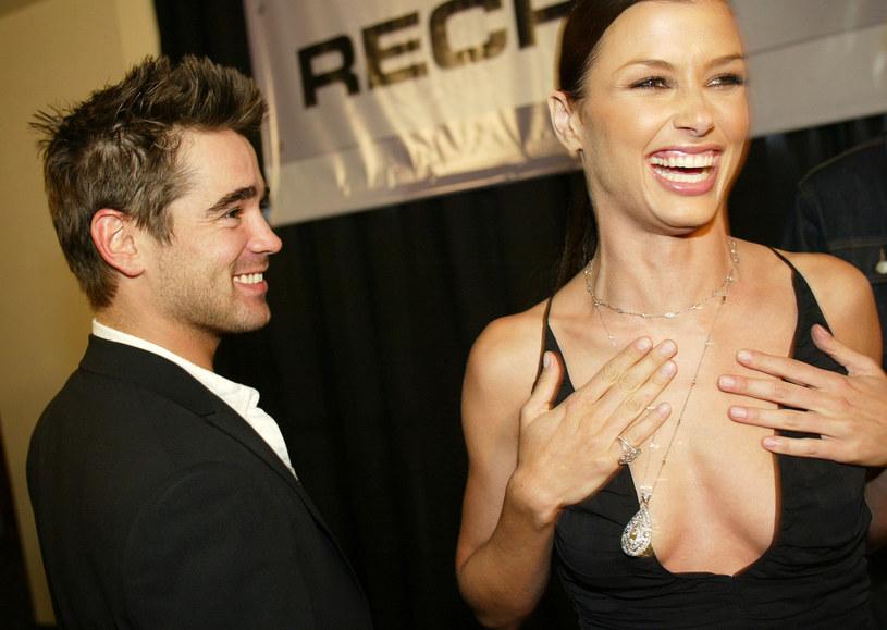"Colin Farrell z aktorką Bridget Moynahan w 2003 roku na premierze filmu ""Rekrut"" /Kevin Winter /Getty Images"