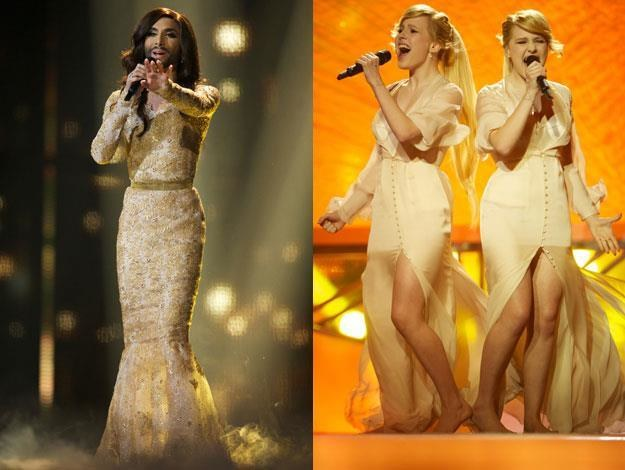 Conchita Wurst i Siostry Tołmaczowe podczas finału Eurowizji fot. Ragnar Singsaas /Getty Images