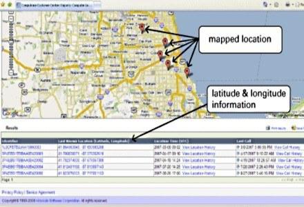 Coputrace zarejestrował miejsca pobytu notebooka. fot. AbsoluteSoftware /HeiseOnline