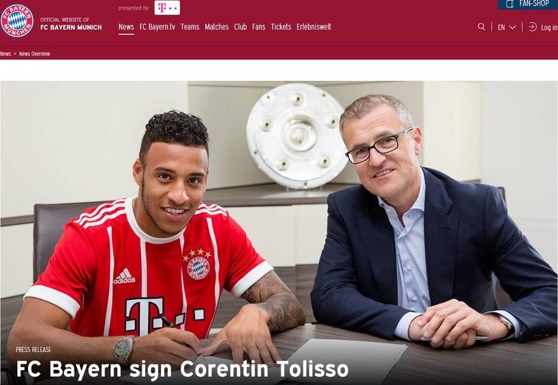 Corentin Tolisso już w koszulce Bayernu; źródło: fcbayern.com /