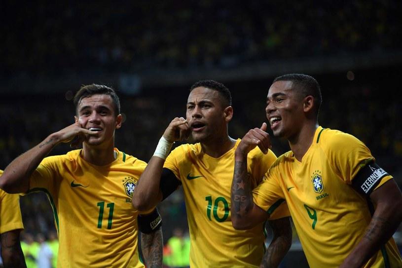 Coutinho (z lewej) z Neymarem i Gabrielem Jesusem podczas meczu na igrzyskach olimpijskich w Rio de Janeiro /AFP