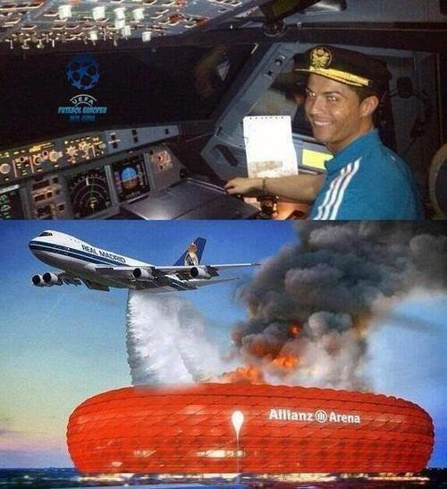 Cristiano Ronaldo pilotem, który zgasił ogień na Allianz Arena. /INTERIA.PL