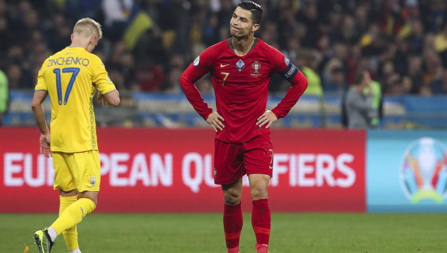 Cristiano Ronaldo podczas meczu z Ukrainą /PAULO NOVAIS /PAP/EPA