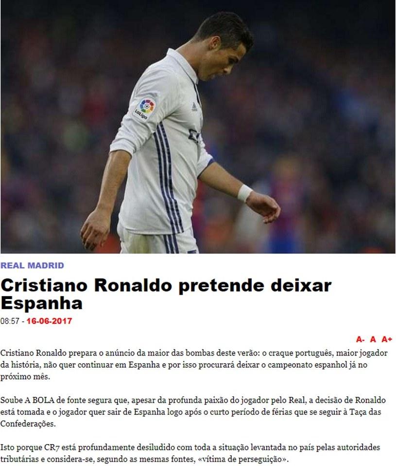 Cristiano Ronaldo /fot. printscreen/www.abola.pt /