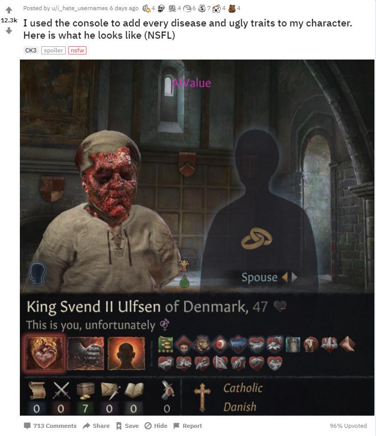 Crusader Kingds 3 - zdjęcie z gry zamieszczone w serwisie Reddit /materiały prasowe