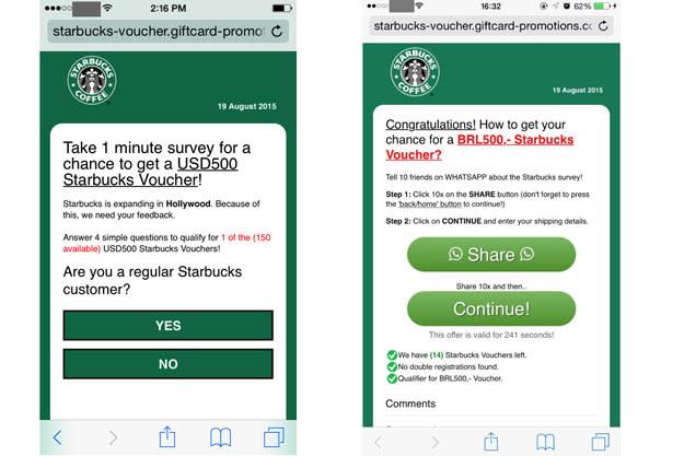 Cyberoszustwo wykorzystujące wizerunek sieci kawiarni Starbucks /materiały prasowe