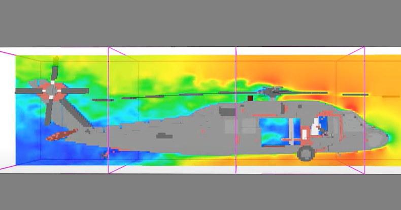Cyfrowa symulacja pożaru helikoptera /materiały prasowe