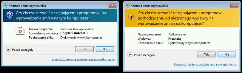 Cyfrowo podpisana aplikacja (po lewej) i zwykły plik wykonywalny (po prawej) próbują uzyskać uprawnienia administracyjne. Komunikaty UAC różnią się od siebie. /materiały prasowe
