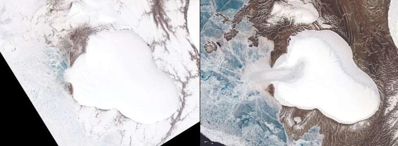 Czapa Lodowa Wawiłowa w 2013 r. (po lewej) i w 2018 r. (po prawej) /NASA