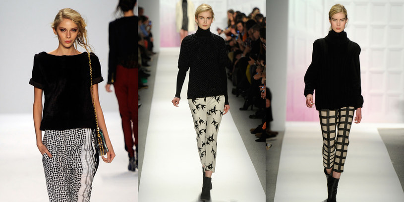 Czarno-białe spodnie z kolekcji Rebecci Minkoff oraz marki Tibi /Getty Images
