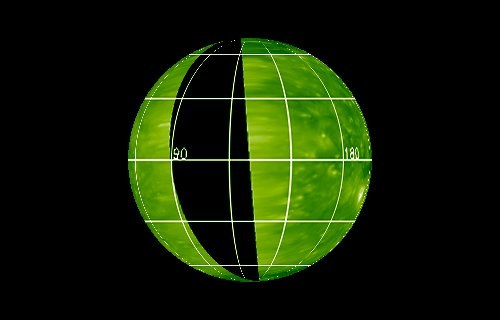 Czarny obszar oznacza rejon Słońca, skąd aktualnie nie ma informacji na temat aktywności fotosfery Słońca. Stan na 20 marca 2017 /NASA