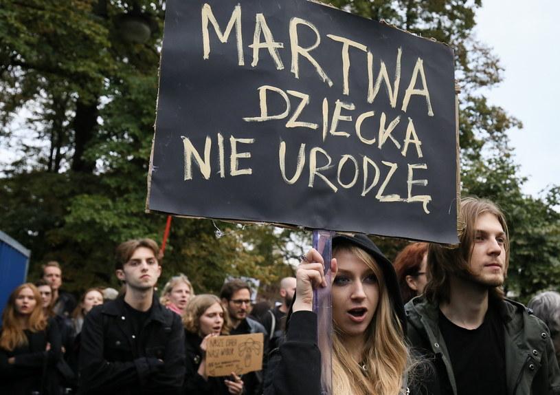 """""""Czarny protest"""" pod Sejmem /Paweł Supernak /PAP"""