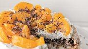 Czekoladowo-orzechowy tort bezowy z pomarańczami