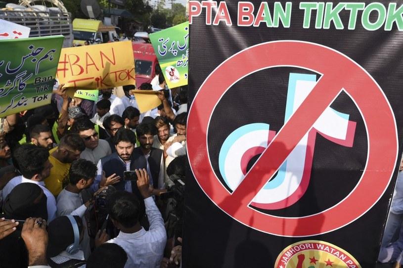 Czerwiec 2021, Pakistan - protest przeciwko TikTokowi /AFP