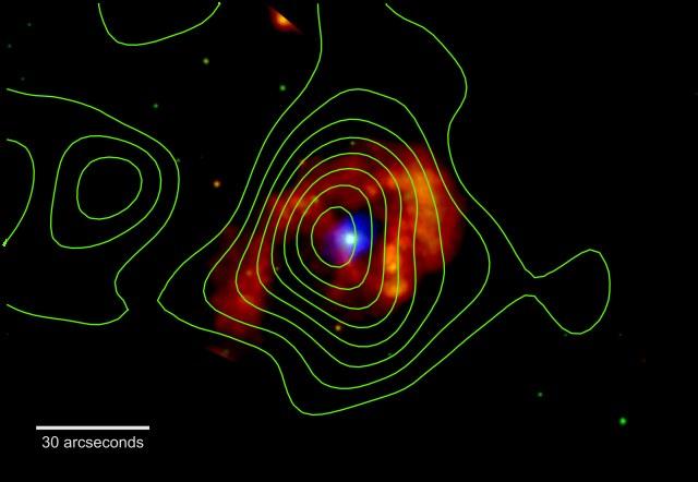 Czerwone kolory oznaczają energie rzędu 300-1000 eV, zielone rzędu 1000-3000 eV, natomiast niebieskie - od 3000 do 10000 eV /materiały prasowe