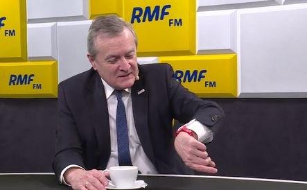 Czerwony zegarek wicepremiera Piotra Glińskiego /RMF FM