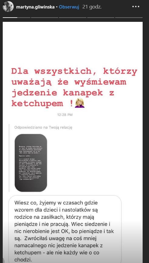 Część osób broniła Martyny /Instagram