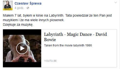 Czesław Mozil o śmierci Davida Bowiego /