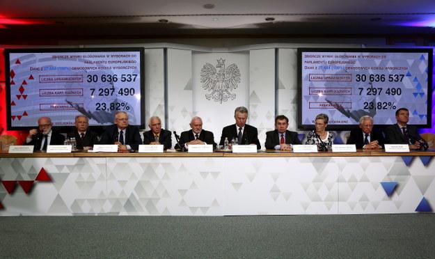 Członkowie PKW na konferencji prasowej /PAP/Tomasz Gzell /PAP