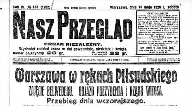 Czołówka jednej z gazet z okresu przewrotu majowego /Polona /INTERIA.PL