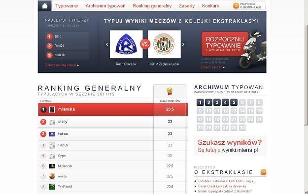 Czołówka rankingu generalnego 11na11.pl /INTERIA.PL